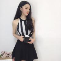夜场性感女装泰国潮牌名媛条纹拼色性感露背针织修身气质连衣裙