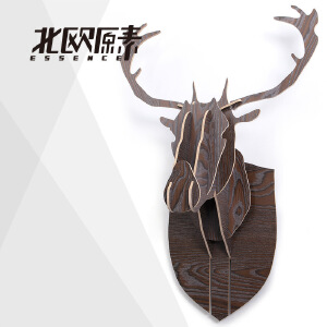 幸阁 环保木制北欧原素麋鹿头像 北欧ins亲子创意复古 动物墙壁挂饰木制摆件