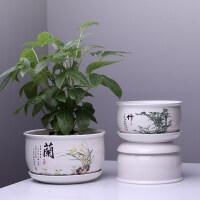 绿萝花盆陶瓷带托盘批发特大号个性创意多肉植物室内阳台绿植花盆jw4