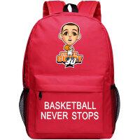 夜光书包男女运动背包初高中小学生大容量包篮球队帆布旅行双肩包 浅灰色 红拿球
