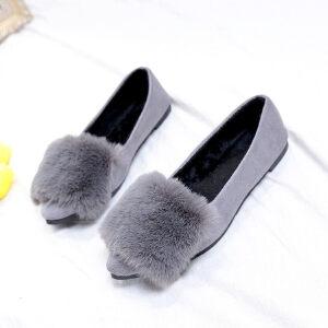 WARORWAR新品YM32-928冬季韩版平底舒适女士毛毛单鞋