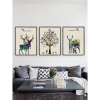 北欧壁画三联组合沙发背景墙客厅装饰画现代简约餐厅简欧挂画油画