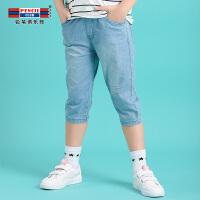 【3折价:53.7】铅笔俱乐部童装2020夏装新款女童牛仔裤中大童中裤裤子儿童五分裤