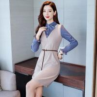 针织连衣裙2019新款女装春装韩版假两件打底裙中长款气质套装裙子
