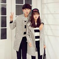 秋冬新款情侣装呢子外套女韩版男式羊毛呢大衣中长款情侣风衣加厚 灰色