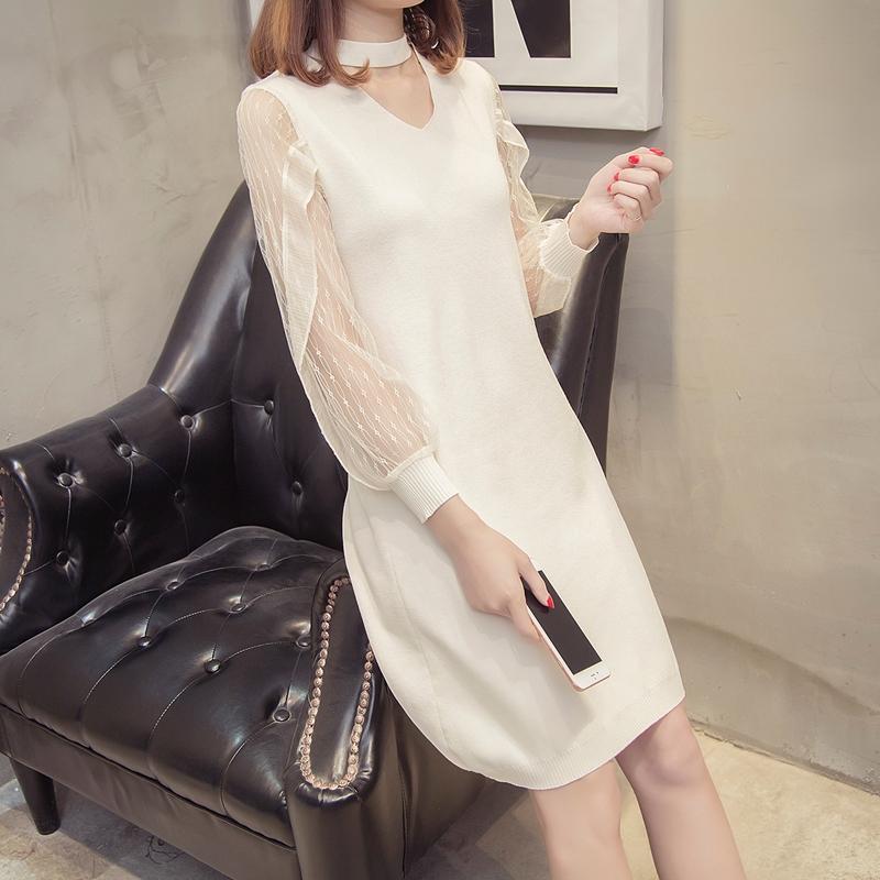 春季新款少女蕾丝袖裙2018超火裙子学生时尚韩版针织拼接