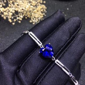 天然蓝宝石心形手链,火彩爆闪!蓝宝石四大宝石之一