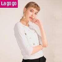 【618大促-每满100减50】Lagogo2018夏季新款时尚单排扣针织衫修身低圆领小清新开衫外搭女HAMM713Q