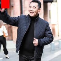 爸爸装休闲棉衣外套秋冬季40-50岁中老年人男士冬装立领棉袄夹克