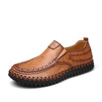 男士休闲鞋真皮透气皮鞋英伦潮流牛皮手工鞋时尚舒适潮鞋