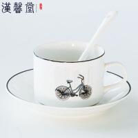 汉馨堂 咖啡杯套装 骨瓷欧式简约创意一杯一碟一勺家用办公茶杯牛奶杯