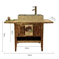 创意新中式复古洗面盆台上盆艺术洗手盆阳台浴室柜洗手台镜子组合 91(含)-120(含)