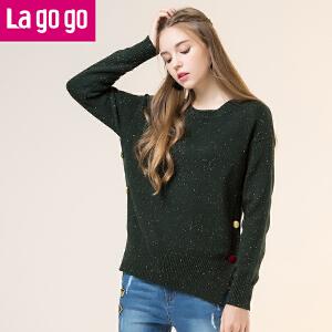 【秒杀价71】Lagogo/拉谷谷2019年冬季新款时尚撞色纽扣装饰针织衫