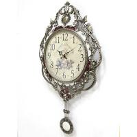金属欧式挂钟客厅单面摇摆钟静音个性复古金属时钟滴油钟表