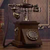 老式民国实木旋转盘电话机仿古复古拨号电话中式古董家用座机 无线电信手机卡转盘 咖色