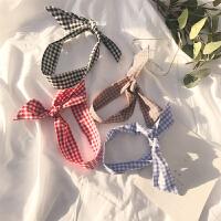 春装2018新款韩版学院风百搭小格子领巾多用系带发箍围巾女学生