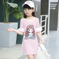 女童连衣裙3-4岁中大儿童纯棉女孩荷叶袖T恤裙5-6夏天裙子-