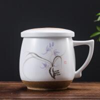 景德镇手绘茶杯陶瓷三件杯礼品办公马克杯带盖过滤水杯个人泡茶杯29