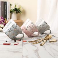 欧式大理石金边陶瓷带盖勺马克杯创意杯垫办公水杯奶茶杯咖啡情侣