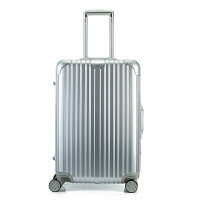 PC拉杆箱铝框万向轮26寸商务旅行箱密码行李箱28寸24寸20男女SN8199 银色 铝框