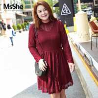 MsShe加大码女装2017新款冬装胖妹妹牛奶丝绒蕾丝连衣裙M1640377