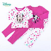 迪士尼Disney童装 女童套装波点圆领上衣纯棉休闲长裤2件套春季新款米妮印花家居服