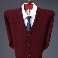 秋冬款鄂��多斯市羊�q衫男中老年V�I���_衫加厚羊毛衫毛衣外套
