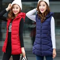 秋冬女装2018新款韩版羽绒棉大码修身显瘦马甲女中长款可卸帽坎肩