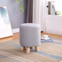 实木换鞋凳布艺沙发凳梳妆凳圆凳试衣间凳子家用小凳子床尾搭 灰色 高30宽30