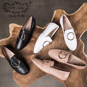 玛菲玛图英伦小皮鞋女韩版百搭春季单鞋女2018新款女鞋套脚乐福鞋女M1981201834T11