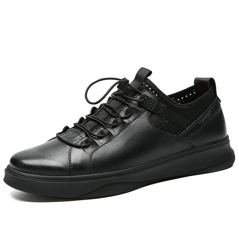 男士休闲皮鞋男真皮黑色套脚软面皮时尚潮鞋男松紧皮板鞋 亮面黑