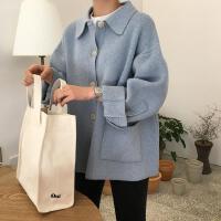 春季新款韩版cic风复古学院风翻领排扣宽松长袖针织毛衣外套女