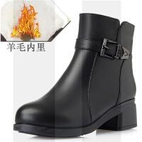 冬季新款真皮短靴女粗跟中跟大码妈妈棉鞋羊毛保暖加绒防滑女棉靴SN4808