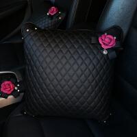 创意山茶花镶钻汽车内饰品套饰套装 车载安全带装饰品女 汽车用品