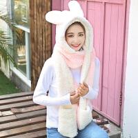 20180734185492018新款韩版女学生冬季保暖帽子手套围巾一体可爱卡通兔子儿童子三件套