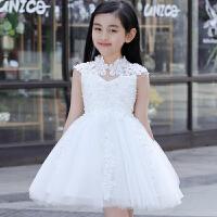 儿童礼服 女童公主裙秋冬蓬蓬裙儿童婚纱裙晚礼服花童 花童礼服女 白色立领裙