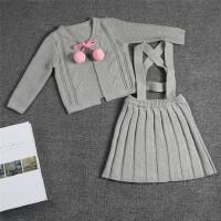 INS2018年新款童装宝宝纯棉毛衣英伦学院风外套+裙两件套装
