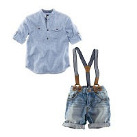 婴儿背带裤套装夏季薄款1-5岁男女宝宝外出欧美条纹儿童两件套潮