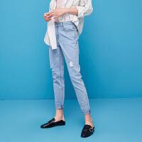 初语夏新款 港味复古裤子 浅蓝色 磨须破洞修身牛仔长裤女
