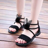 女童凉鞋新款韩版夏季真毛儿童凉鞋中大童女孩子兔耳朵公主鞋