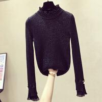 半高领长袖修身打底衫女2018冬装新款ins喇叭袖套头针织衫厚上衣 均码