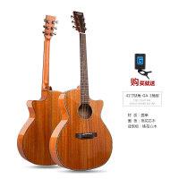 单板吉他云杉玫瑰木亮光初学者学生女面单民谣吉他送琴盒jita乐器a175