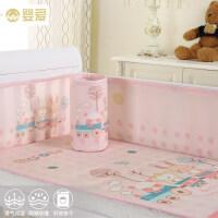 婴爱婴儿床围套件四季通用可拆洗宝宝新生儿床上用品三明治床围a363 粉色动物园 通用尺寸 各尺寸婴儿床可用