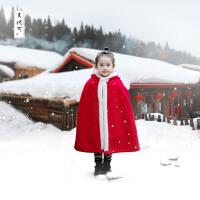 新年装女童披风斗篷外套秋冬款中国风儿童大红摇粒绒加绒加厚