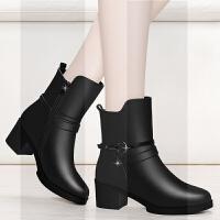 马靴女中筒靴冬2018新款靴子网红瘦瘦靴短靴百搭加绒短筒女士皮鞋SN5500