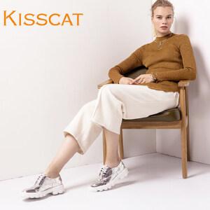 接吻猫低跟厚底深口单鞋女鞋DA76596-50