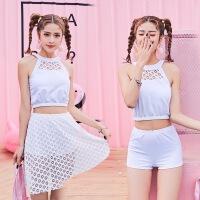新款女士比基尼分体三件套韩版性感蕾丝显气质裙式平角温泉游泳衣