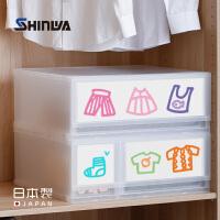 日本伸和进口抽屉式收纳箱透明塑料衣柜内衣服整理箱储物盒组合装