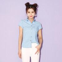 【1件3折到手价:37.5】美特斯邦威牛仔衬衫女士夏装新款韩版纯棉短袖衬衣潮