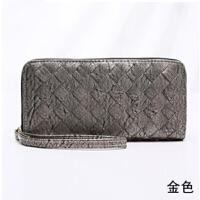 韩版潮时尚女士钱包手拿包编织纹长款钱夹学生潮 金色